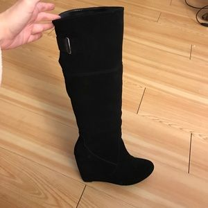 Shoes - Black wedge tall dress boots